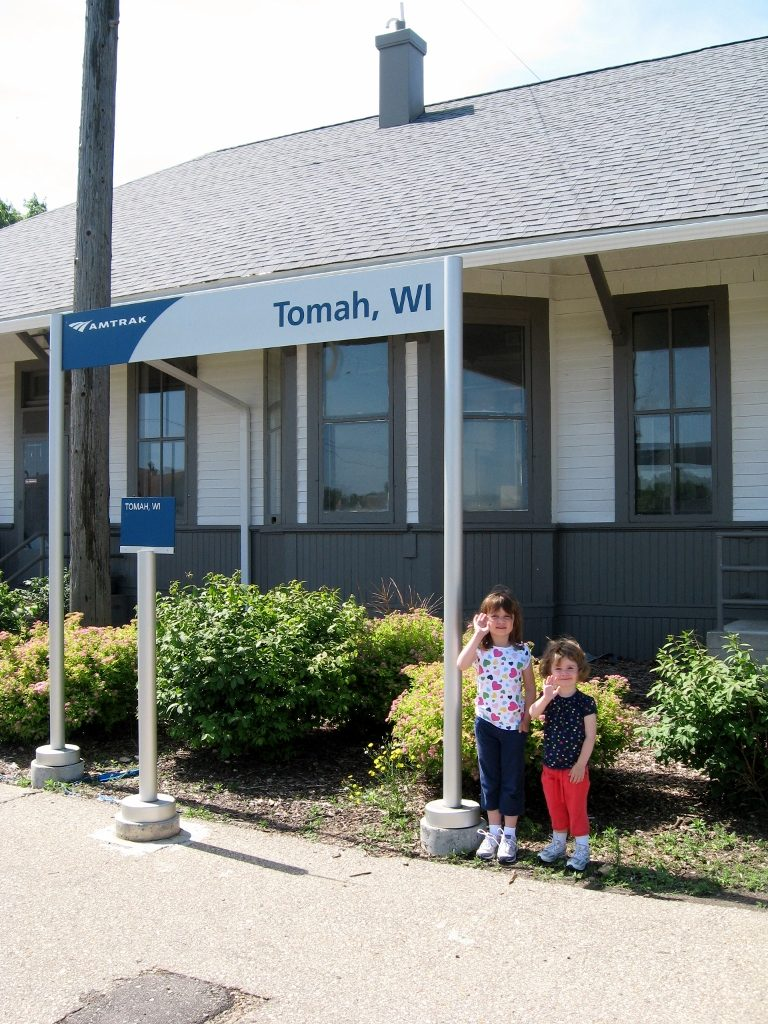Amtrak station in Tomah, WI riding amtrak with kids