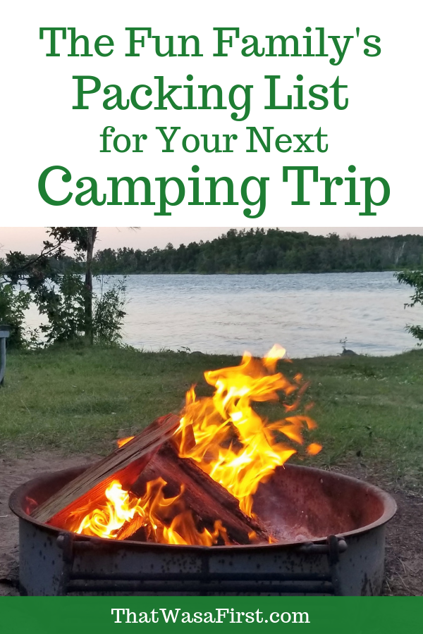 This is the list of things that you don't want to forget when you go camping. The list is full of items to guarantee family fun! I've also included our best camping tips! #Camping #packinglist #RV #thatwasafirst