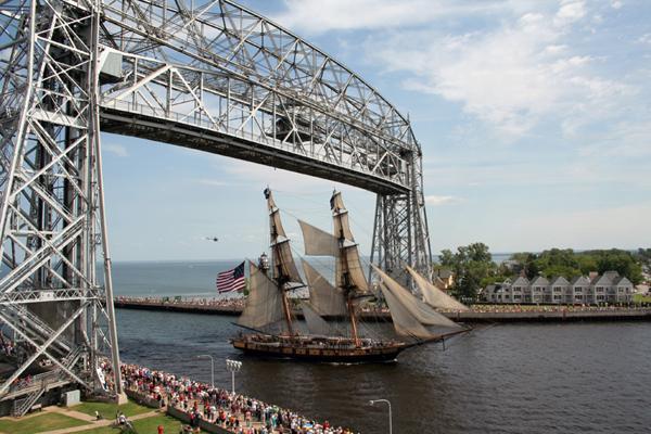 Tall Ship and the Lift Bridge