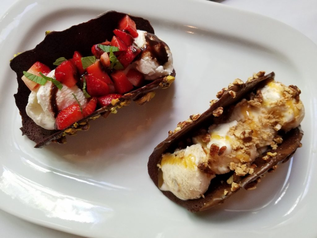 Caramel and strawberry ice cream tacos