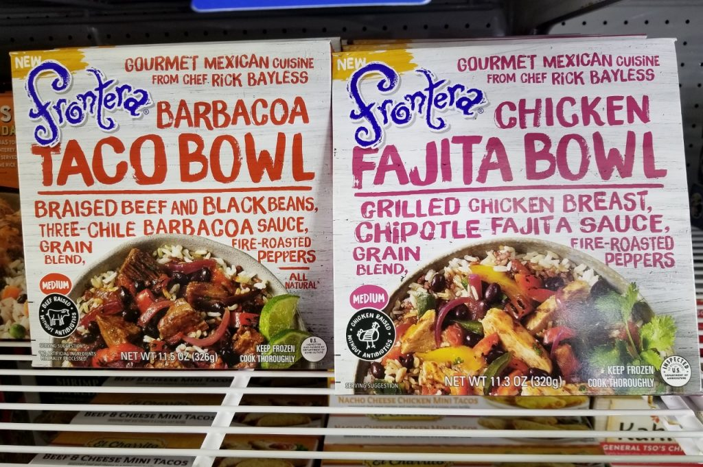 New frozen foods in the grocery store