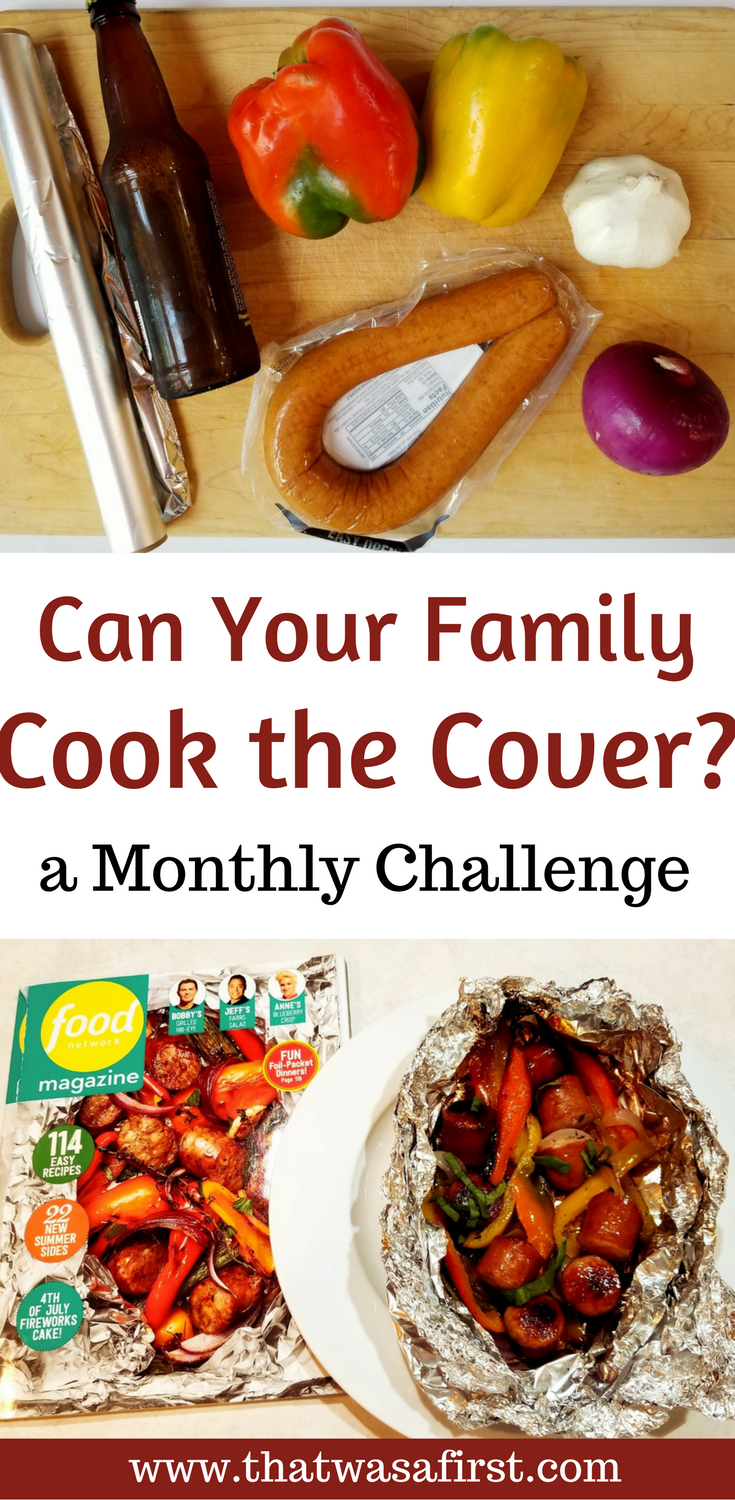 This month's cook the cover was from Food Network Magazine. This meal of grilled sausage and vegetables is quick and easy!