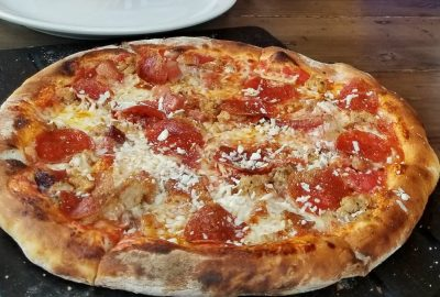 Wood-fired pizza in Seward Brewery