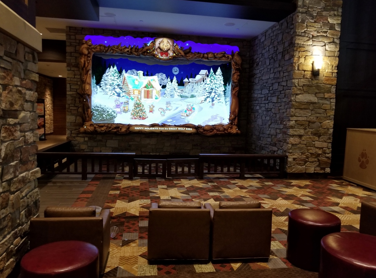 the lobby at great wolf lodge in bloomington minnesota