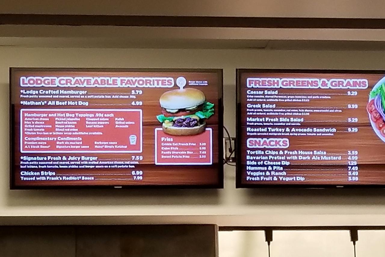 food menu at Buckets at Great Wolf Lodge in Bloomington Minnesota