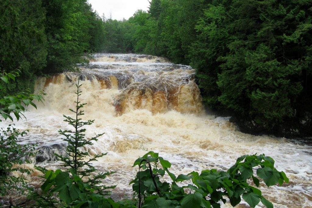 Cascade waterfall at copper falls campground in northwest wisconsin