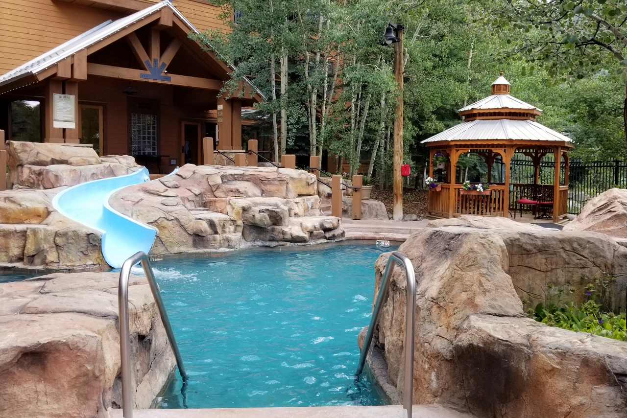 The pool area at The Springs at Keystone Resort