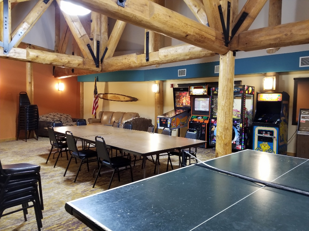 game room at grand ely lodge
