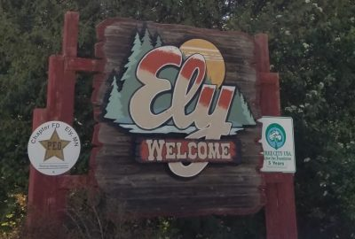 Welcome sign to Ely Minnesota