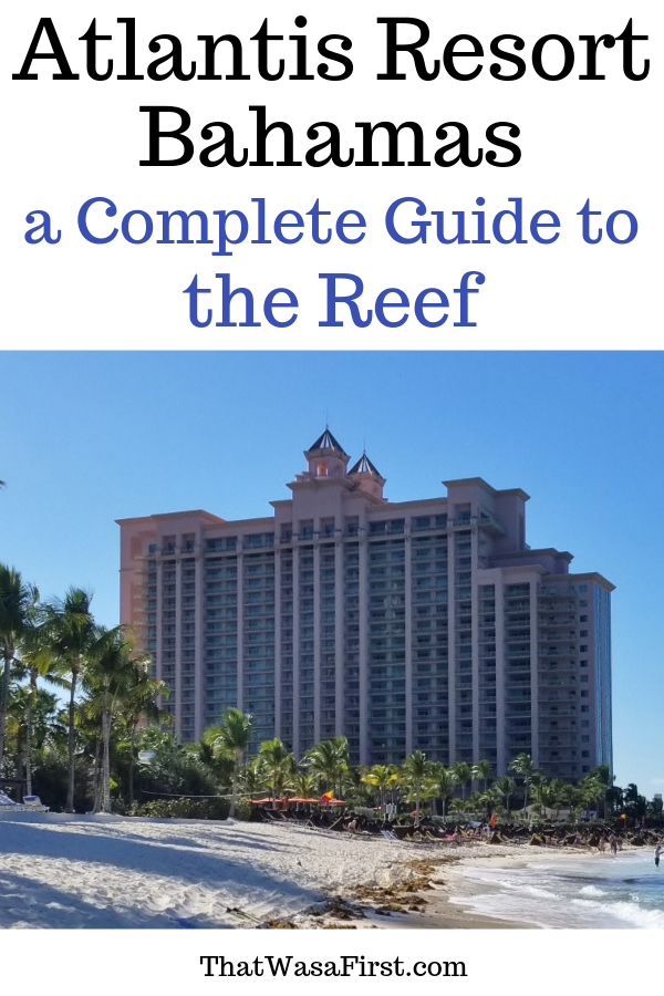 This is your complete guide to the Reef Resort at Atlantis Bahamas. This article has a photo review of the property and tips for your family's stay. See what your room, and view, may look like. Find out about saving money on food, and check out the pool and beach! #Atlantis #Bahamas #Reef #Thatwasafirst